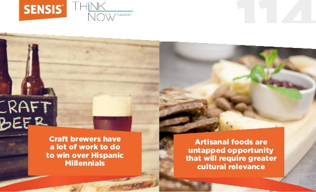 114 Craft brewers have a lot of work to do to win over Hispanic Millennials Artisanal foods are untapped opportunity that ...