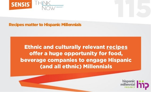 115 Ethnic and culturally relevant recipes offer a huge opportunity for food, beverage companies to engage Hispanic (and a...