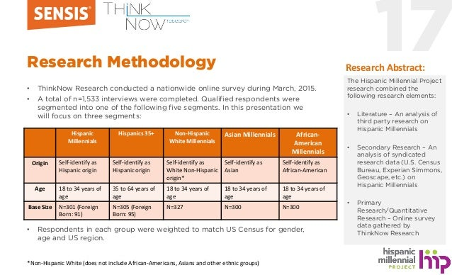 17Research Methodology • ThinkNow Research conducted a nationwide online survey during March, 2015. • A total of n=1,533 i...