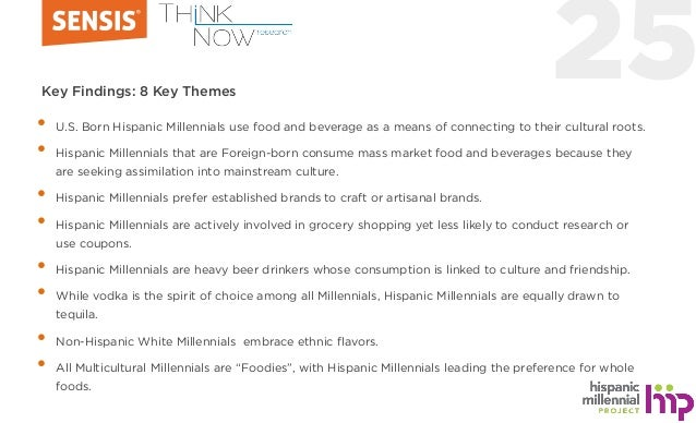 25Key Findings: 8 Key Themes • U.S. Born Hispanic Millennials use food and beverage as a means of connecting to their cult...
