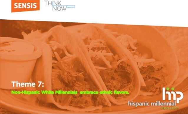 Theme 7: Non-Hispanic White Millennials embrace ethnic flavors.