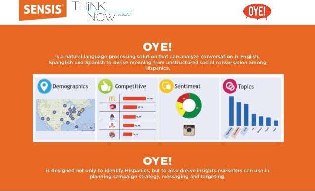 OYE! is a natural language processing solution that can analyze conversation in English, Spanglish and Spanish to derive m...