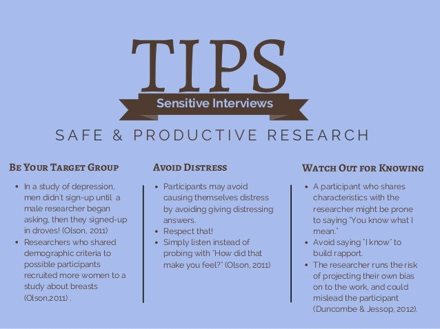 TIPSSensitive Interviews S A F E & P R O D U C T I V E R E S E A R C H Be Your Target Group Avoid Distress Watch Out for K...