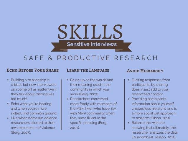 Sensitive Interviews S A F E & P R O D U C T I V E R E S E A R C H Echo Before Your Share Learn the Language Avoid Hierarc...