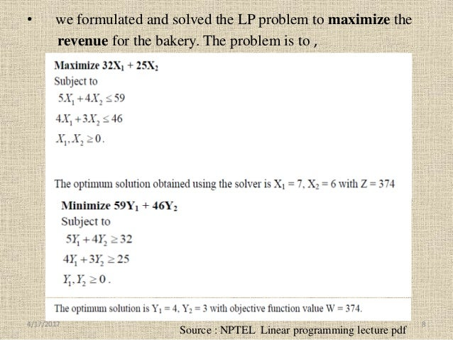 • we formulated and solved the LP problem to maximize the revenue for the bakery. The problem is to , Source : NPTEL Linea...