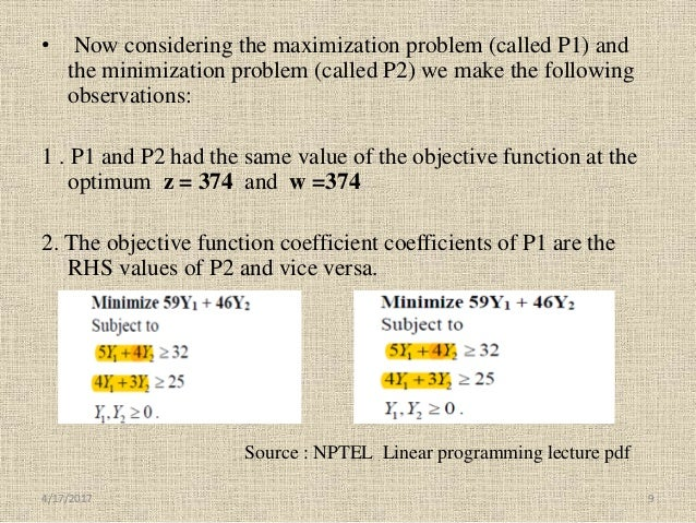 • Now considering the maximization problem (called P1) and the minimization problem (called P2) we make the following obse...