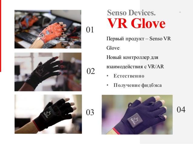 14 Первый продукт – Senso VR Glove Новый контроллер для взаимодействия с VR/AR • Естественно • Получение фидбэка Senso Dev...
