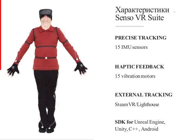 18Характеристики Senso VR Suite PRECISE TRACKING 15 IMUsensors HAPTICFEEDBACK 15 vibrationmotors EXTERNAL TRACKING SteamVR...
