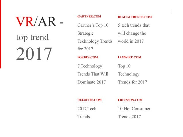 Gartner's Top 10 Strategic Technology Trends for 2017 top trend 2017 3 GARTNER.COM 7 Technology Trends That Will Dominate ...