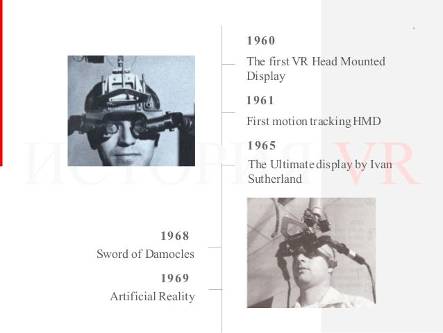 ИСТОРИЯ VR 1960 The first VR Head Mounted Display 1968 Sword of Damocles 6 1961 First motiontrackingHMD 1965 The Ultimate ...
