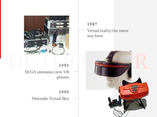 ИСТОРИЯ VR 1987 Virtual realitythe name was born 1993 SEGA announce new VR glasses 7 1995 Nintendo Virtual Boy
