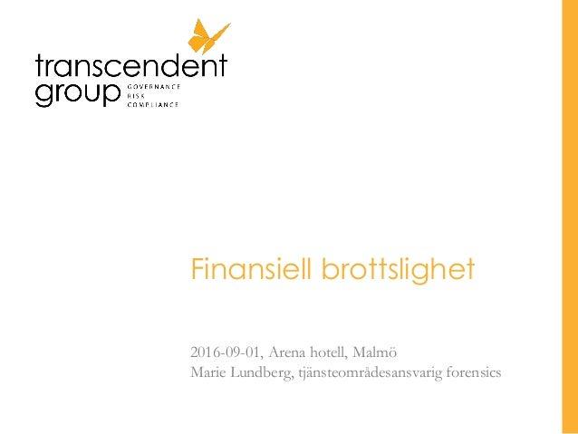 Finansiell brottslighet 2016-09-01, Arena hotell, Malmö Marie Lundberg, tjänsteområdesansvarig forensics