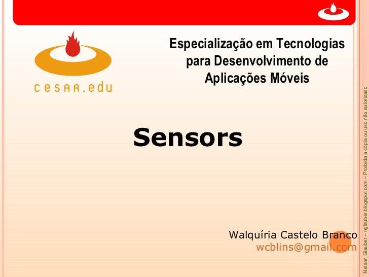 Especialização em Tecnologias    para Desenvolvimento de       Aplicações Móveis                                      Nels...