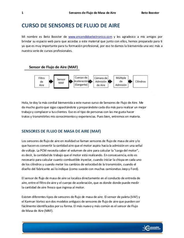 1                                   Sensores de Flujo de Masa de Aire                        Beto BoosterCURSO DE SENSORES...