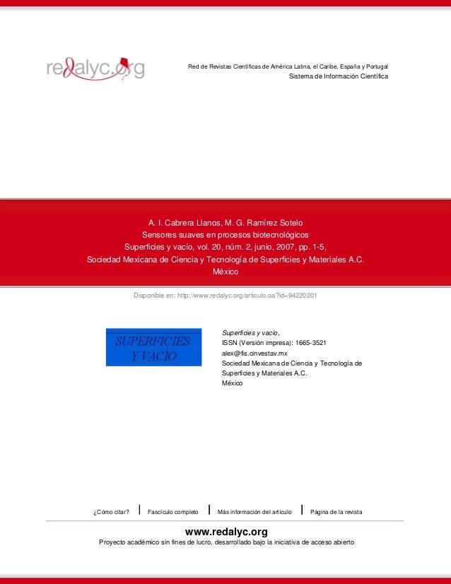 Red de Revistas Científicas de América Latina, el Caribe, España y Portugal  Sistema de Información Científica  A. I. Cabr...