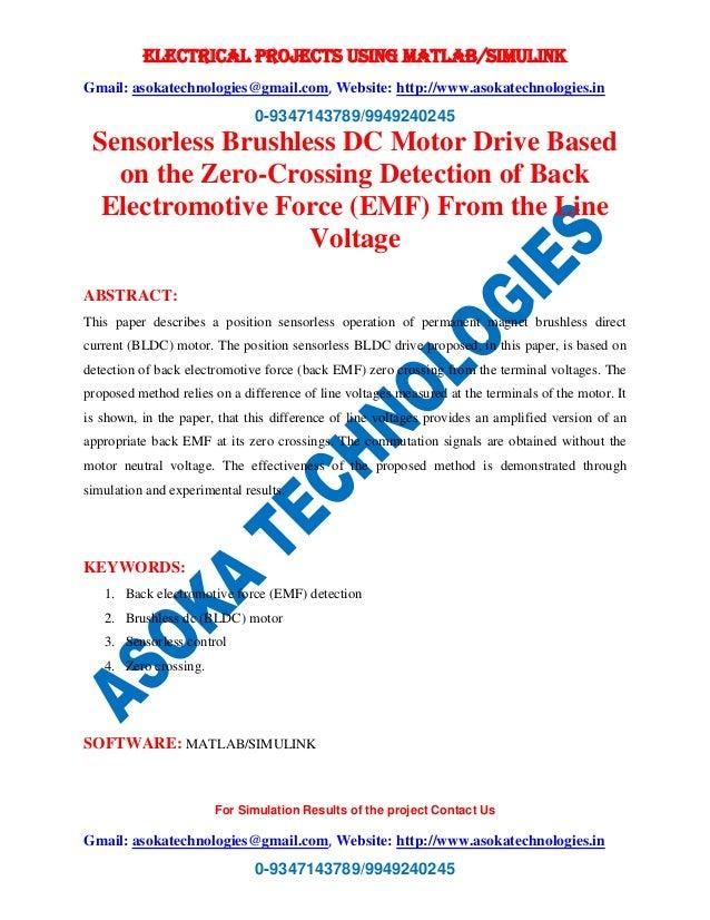 Sensorless brushless dc motor drive base on the zero
