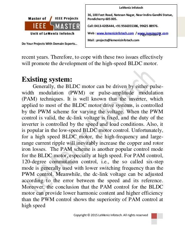 Sensorless drive for high speed brushless dc motor based on the virtu…