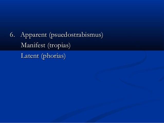 6. Apparent (psuedostrabismus)6. Apparent (psuedostrabismus) Manifest (tropias)Manifest (tropias) Latent (phorias)Latent (...