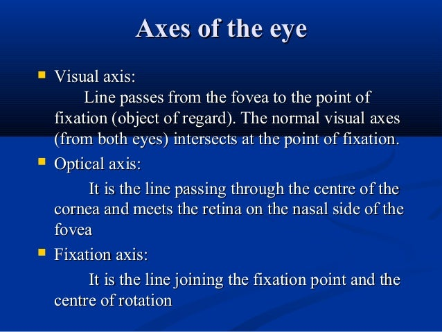 Axes of the eyeAxes of the eye  Visual axis:Visual axis: Line passes from the fovea to the point ofLine passes from the f...