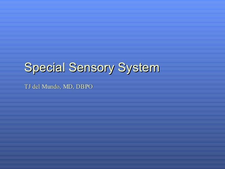 Special Sensory System TJ del Mundo, MD, DBPO