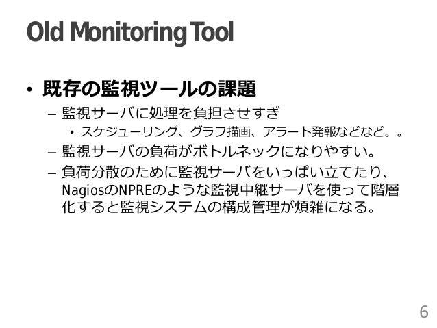 Old MonitoringTool • 既存の監視ツールの課題 – 監視サーバに処理を負担させすぎ • スケジューリング、グラフ描画、アラート発報などなど。。 – 監視サーバの負荷がボトルネックになりやすい。 – 負荷分散のために監視サーバを...