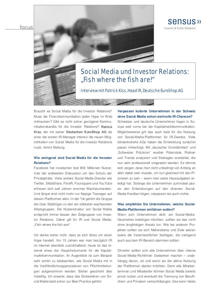 "focus                                        Social Media und Investor Relations:                                        ""..."