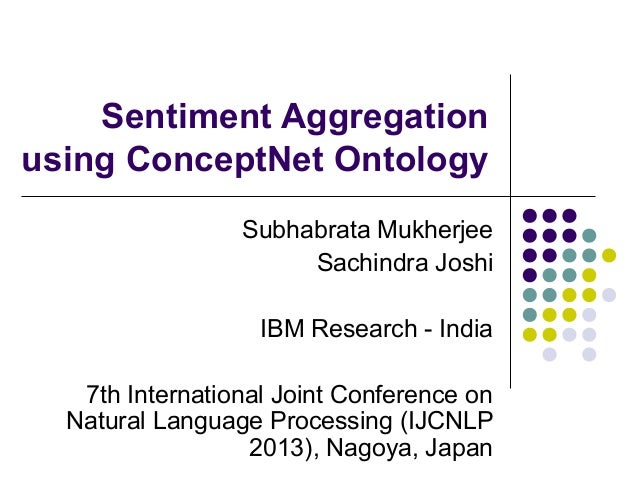 Sentiment Aggregation using ConceptNet Ontology Subhabrata Mukherjee Sachindra Joshi IBM Research - India 7th Internationa...