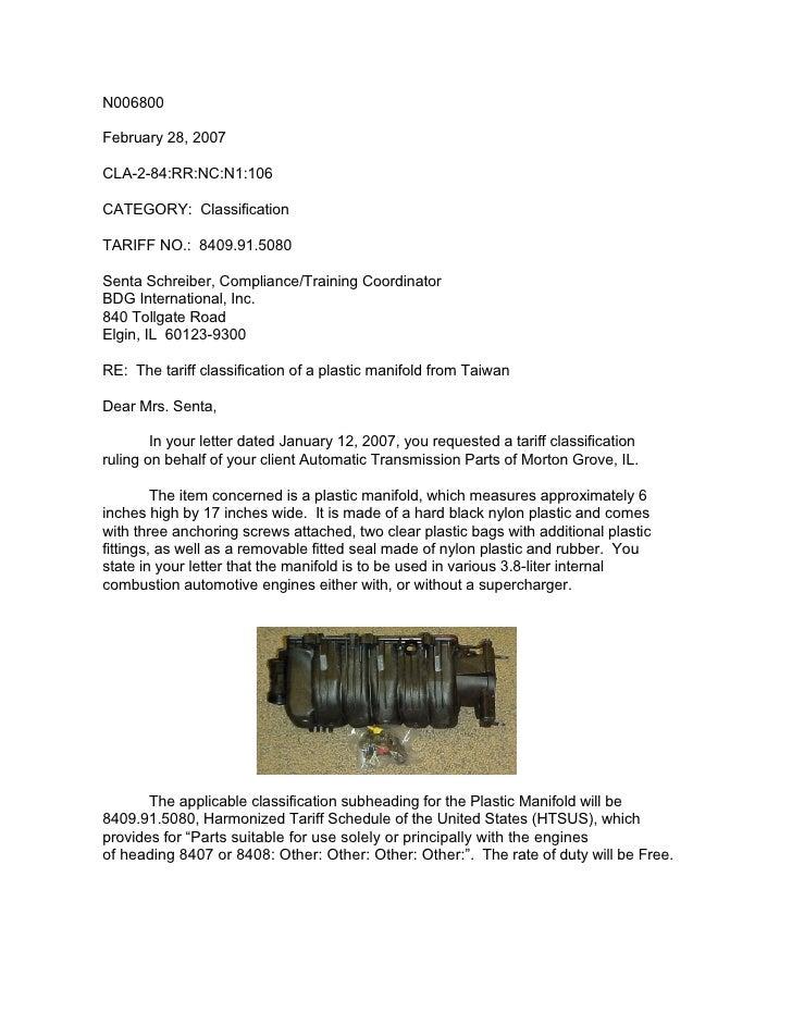 N006800  February 28, 2007  CLA-2-84:RR:NC:N1:106  CATEGORY: Classification  TARIFF NO.: 8409.91.5080  Senta Schreiber, Co...