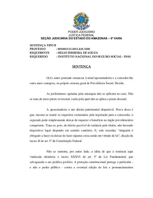 PODER JUDICIÁRIO                          JUSTIÇA FEDERAL         SEÇÃO JUDICIÁRIA DO ESTADO DO AMAZONAS – 8ª VARASENTENÇA...