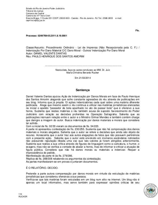 Estado do Rio de Janeiro Poder Judiciário Tribunal de Justiça Comarca da Capital Cartório da 41ª Vara Cível Erasmo Braga, ...