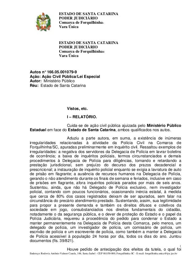 ESTADO DE SANTA CATARINA  PODER JUDICIÁRIO  Comarca de Forquilhinha4  Vara Única  ESTADO DE SANTA CATARINA  PODER JUDICIÁR...