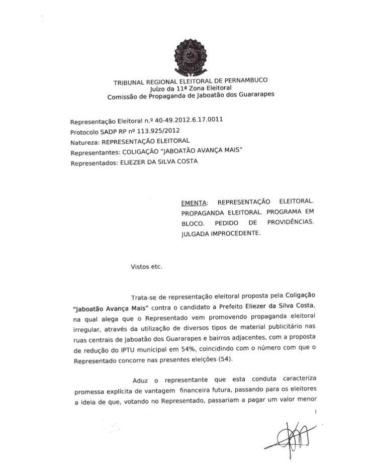Sentença propaganda IPTU Eliezer Costa