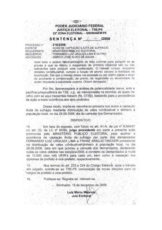 ._ ,  .,  _a ~ _ |   . r .  V  _.  PODÉRJUDICIÁRIO FEDERAL JUSTIÇÀ ELEITOR/ KL ~ TRE/ PE ' ' 22' ZONA 'ELEITORAL - SIRINHÃ...