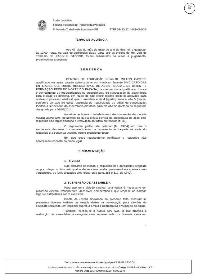 Poder Judiciário Tribunal Regional do Trabalho da 9ª Região 2ª Vara do Trabalho de Londrina – PR TTRT 03490/2014-019-09-00...