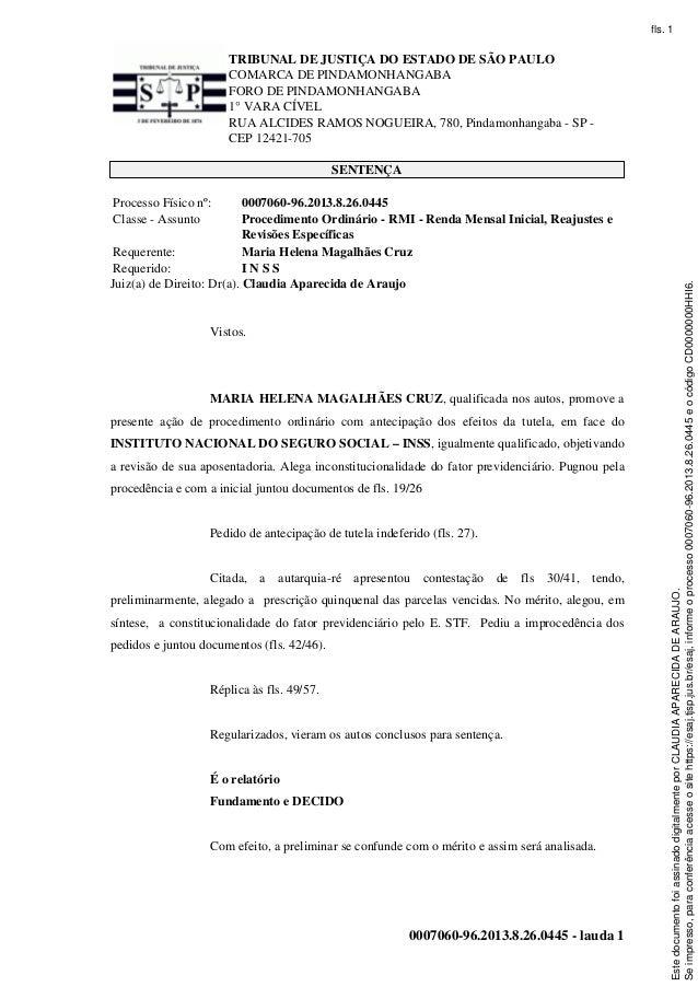 TRIBUNAL DE JUSTIÇA DO ESTADO DE SÃO PAULO COMARCA DE PINDAMONHANGABA FORO DE PINDAMONHANGABA 1° VARA CÍVEL RUA ALCIDES RA...