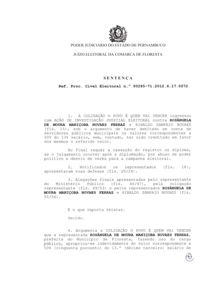 PODER JUDICIARIO DO ESTADO DE PERNAMBUCO                     Juizo   ELEITORAL DA COMA RCA DE FLORESTA                    ...