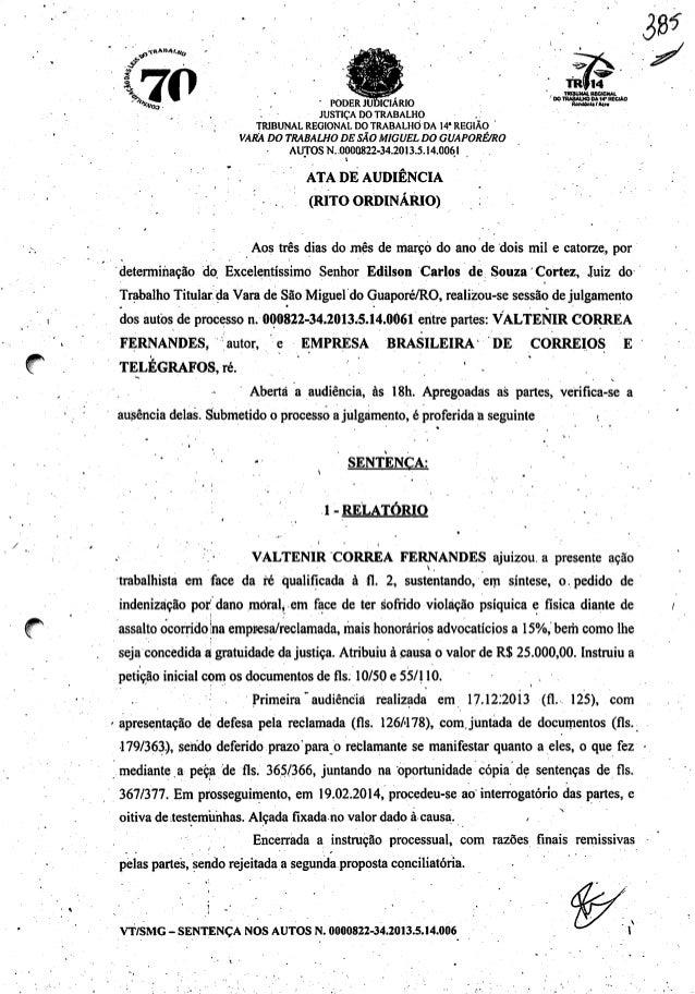 / ^-ÍKA»*».*,, .70^•oa- PODER JUDICIÁRIO »aauMtm JUSTIÇA DO TRABALHO TRIBUNAL REGIONAL DO TRABALHO DA 14*REGIÃO VARA DO TR...
