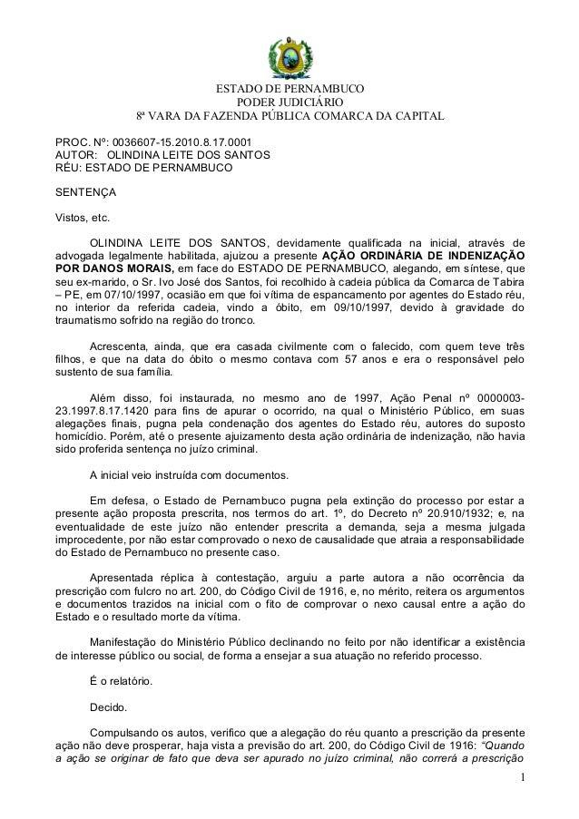 ESTADO DE PERNAMBUCO PODER JUDICIÁRIO 8ª VARA DA FAZENDA PÚBLICA COMARCA DA CAPITAL PROC. Nº: 0036607-15.2010.8.17.0001 AU...