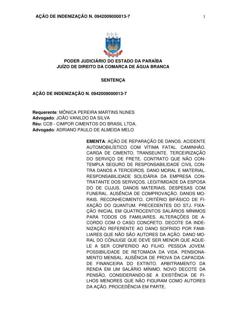 AÇÃO DE INDENIZAÇÃO N. 0942009000013-7                           1            PODER JUDICIÁRIO DO ESTADO DA PARAÍBA       ...