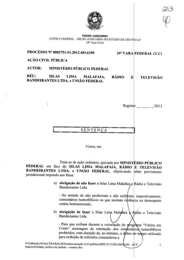 Sentença na Ação Civil Pública n.º 0002751-51.2012.4.03.6100 movida pelo MPF contra Silas Malafaia