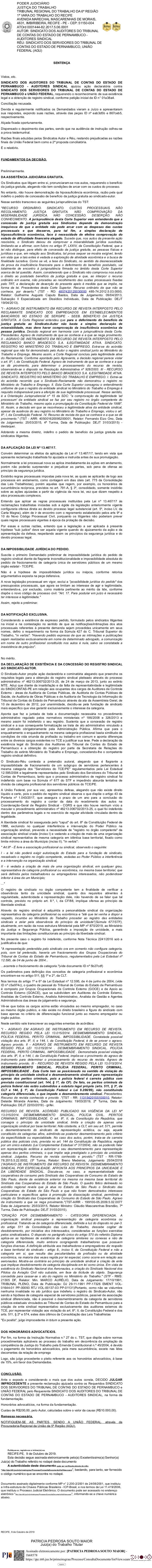 PODER JUDICI�RIO JUSTI�A DO TRABALHO TRIBUNAL REGIONAL DO TRABALHO DA 6� REGI�O 1� VARA DO TRABALHO DO RECIFE AVENIDA MARE...