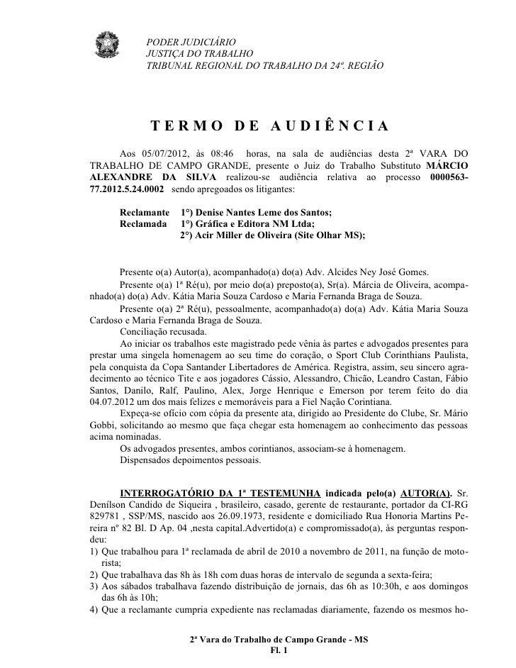 PODER JUDICIÁRIO              JUSTIÇA DO TRABALHO              TRIBUNAL REGIONAL DO TRABALHO DA 24ª. REGIÃO               ...