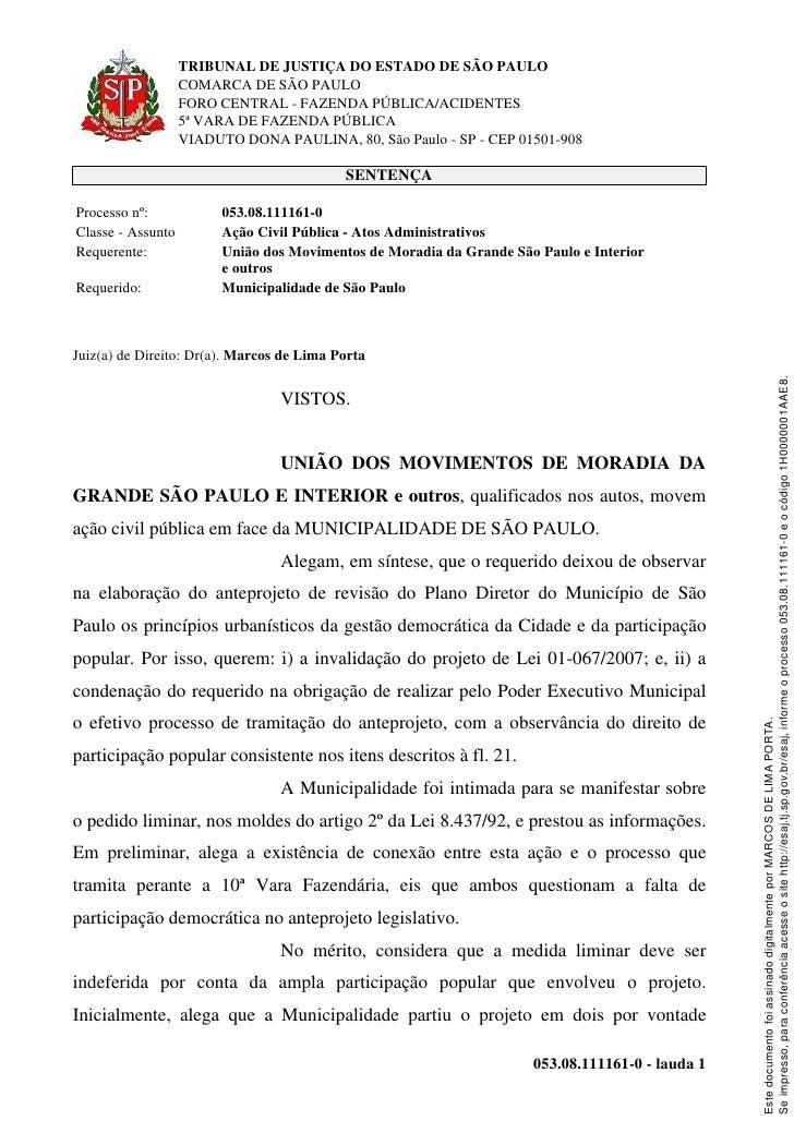 Sentenca Justica_revisao Plano Diretor SP