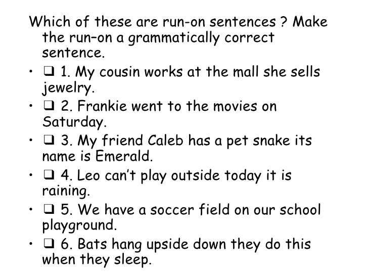 English worksheets: Correcting Run-On Sentences