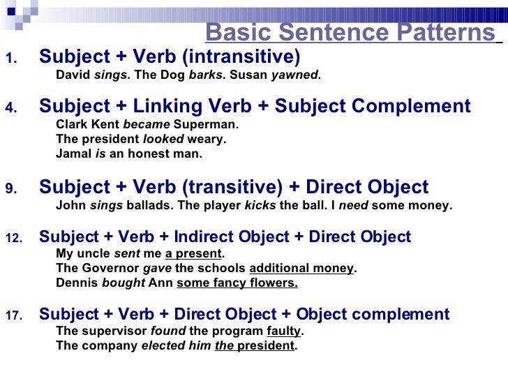 sentence pattern subject verb sentence patterns. Black Bedroom Furniture Sets. Home Design Ideas