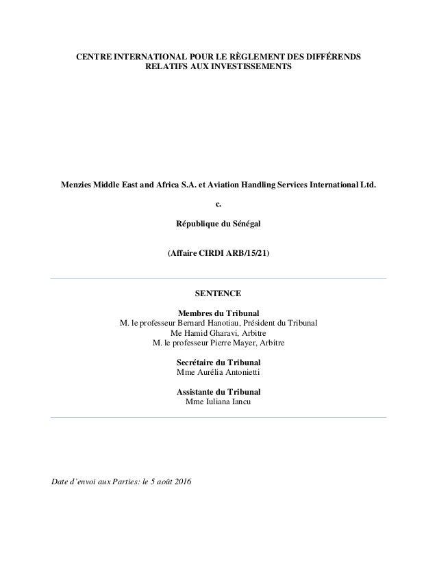 CENTRE INTERNATIONAL POUR LE RÈGLEMENT DES DIFFÉRENDS RELATIFS AUX INVESTISSEMENTS Menzies Middle East and Africa S.A. et ...