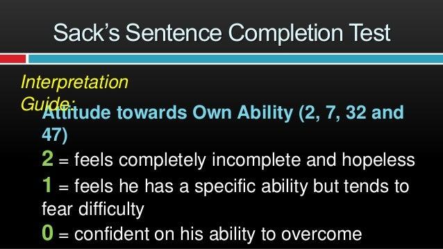 Sentence completion test