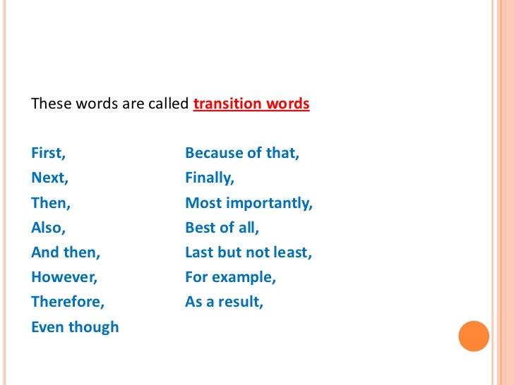 Sentence fluency transition words