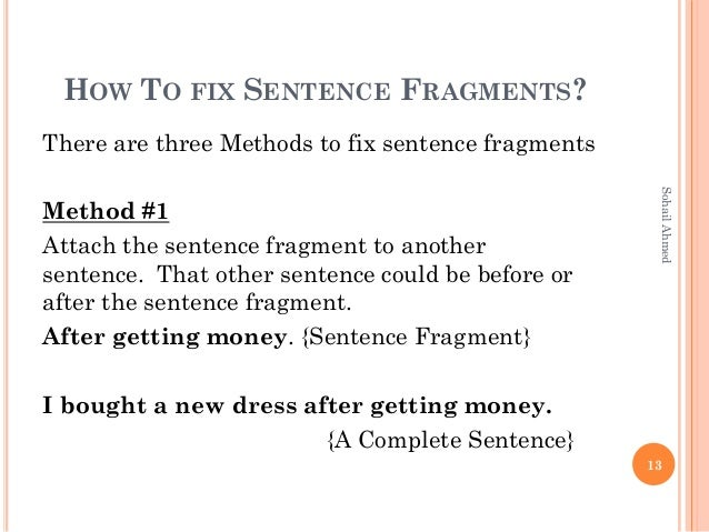 what are sentence fragments