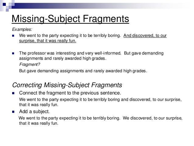 how to avoid sentence fragments